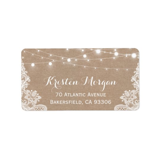 Rustic Country String Lights Lace Burlap Wedding Address