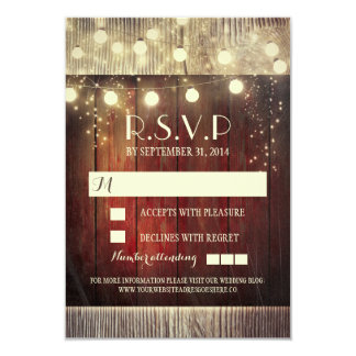 Rustic country string lights wedding RSVP cards