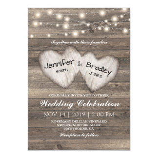 Rustic Country String of Lights Wedding Card