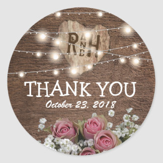 Rustic Country String of Lights Wedding Favor Classic Round Sticker