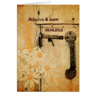 rustic country summer daisy wedding card