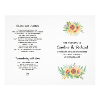 Rustic Country Sunflower Folded Wedding Programs Flyer
