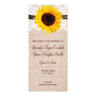 Rustic Country Sunflower Vertical Wedding Programs Rack Card