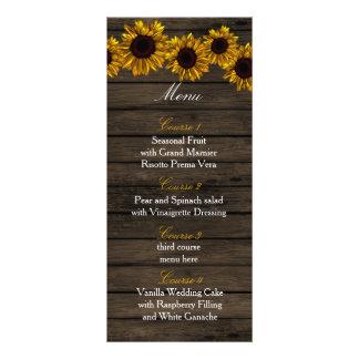 Rustic Country Sunflowers Barn Wood Wedding menu