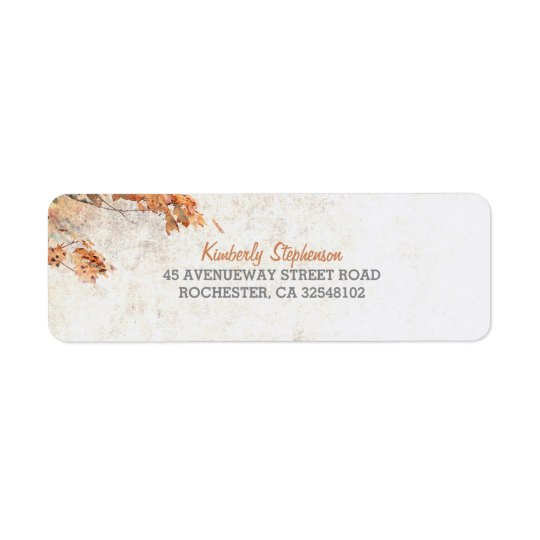 Rustic Country Tree Leaves Fall Wedding Return Address Label