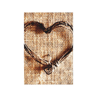 Rustic Country Twine Heart on Burlap Print