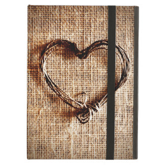 Rustic Country Twine Heart on Burlap Print iPad Air Cover