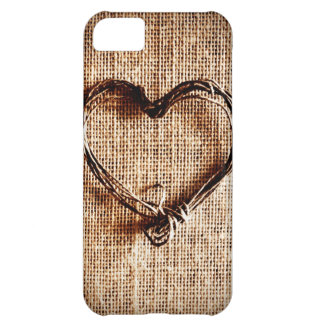 Rustic Country Twine Heart on Burlap Print iPhone 5C Case