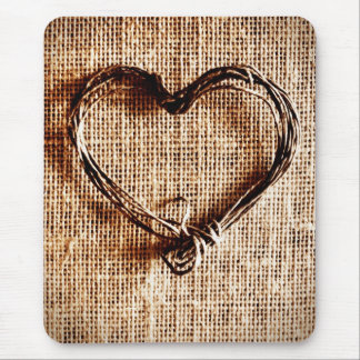 Rustic Country Twine Heart on Burlap Print Mouse Pad