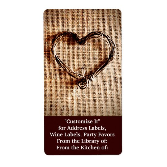 Rustic Country Twine Heart on Burlap Print Shipping Label