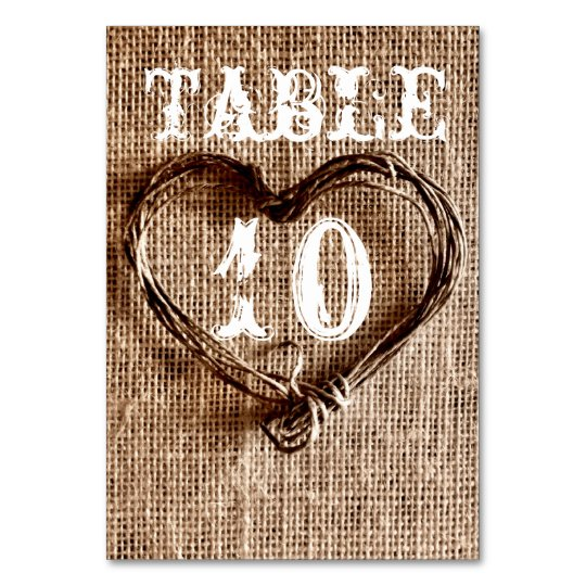 Rustic Country Twine Heart Wedding Table Numbers Table