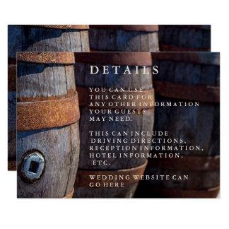 Rustic Country Vineyard Wine Barrel Details card