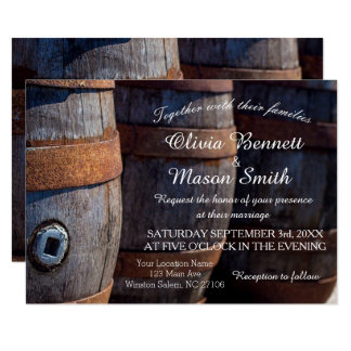 Rustic Country Vineyard Wine Barrel  Wedding Card
