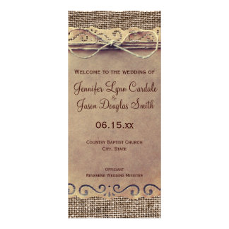 Rustic Country Vintage Burlap Wedding Program Personalized Rack Card