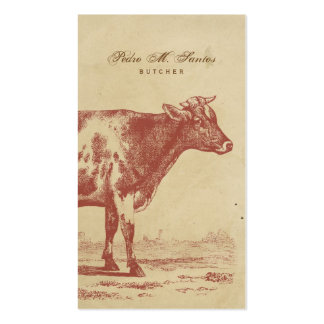 Rustic Country Vintage Milk Cow Simple Cool Animal Business Card Template