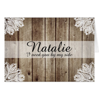 Rustic Country Vintage Wood Bridesmaid Request Note Card