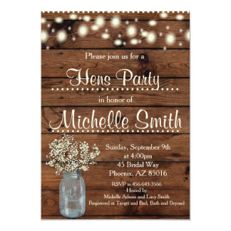 Rustic Country Vintage Wood Hens Party Invitation