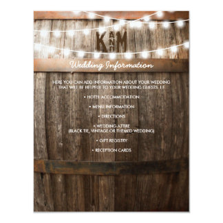 RUSTIC COUNTRY WEDDING DETAILS   STRING OF LIGHTS 11 CM X 14 CM INVITATION CARD