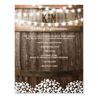 RUSTIC COUNTRY WEDDING DETAILS | STRING OF LIGHTS 11 CM X 14 CM INVITATION CARD