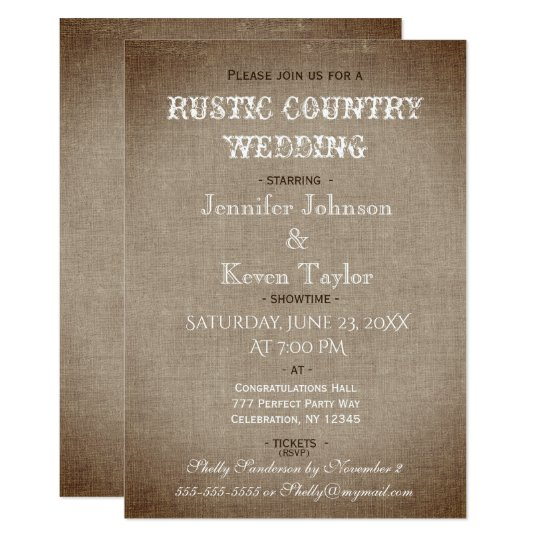 Rustic Country Wedding Distressed Vintage Linen Card