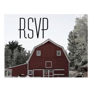 rustic country wedding farm red barn wedding RSVP Postcard