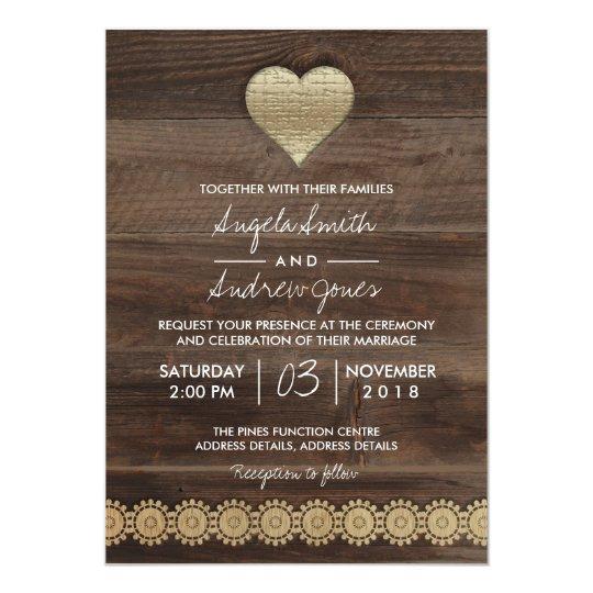 Rustic Country Wedding | Gold Heart Wedding Card