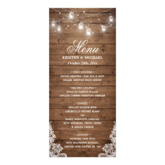 Rustic Country Wedding Menu | String Lights Wood Full Color Rack Card