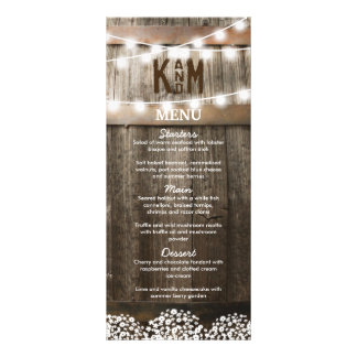 RUSTIC COUNTRY WEDDING MENU | STRING OF LIGHTS CUSTOMIZED RACK CARD