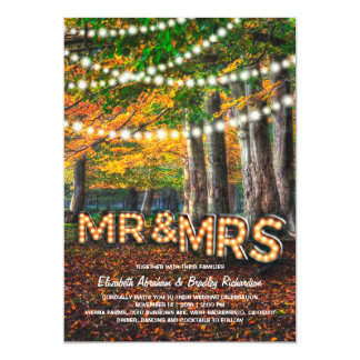RUSTIC COUNTRY WEDDING | MR & MRS LETTERS 13 CM X 18 CM INVITATION CARD