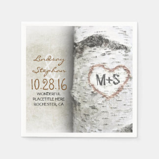 Rustic country wedding napkins with birch tree disposable serviettes