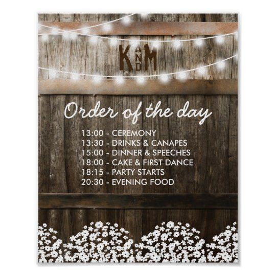 RUSTIC COUNTRY WEDDING ORDER OF THE DAY POSTER