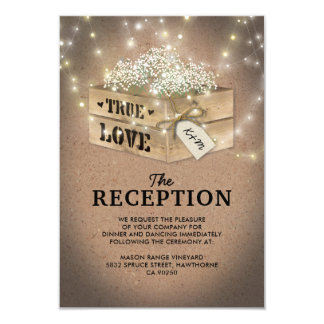 Rustic Country Wedding Reception | Baby's Breath Card