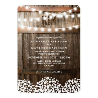 RUSTIC COUNTRY WEDDING | STRING OF LIGHTS 13 CM X 18 CM INVITATION CARD