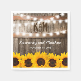 Rustic Country Wedding | Sunflower String Lights Paper Serviettes