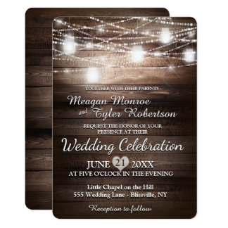 Rustic Country Wedding w/ String Lights Card