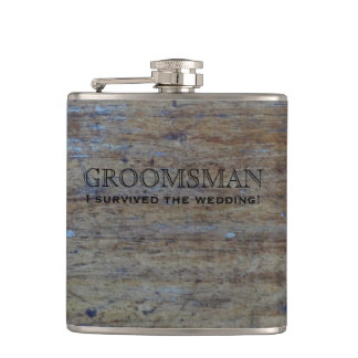 Rustic Country Wedding Wood | Funny Groomsman Flask