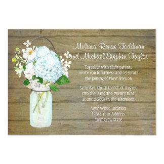 Rustic Country Weddings Mason Jar Blue Hydrangeas Card