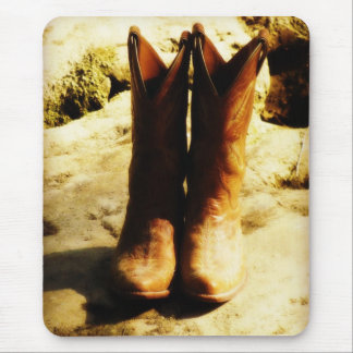 Rustic Country Western Cowboy Boots in Sunlight Mouse Mat
