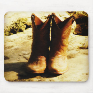 Rustic Country Western Cowboy Boots in Sunlight Mousepads
