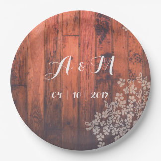 Rustic Country with Antique Flower Paper Plate