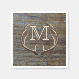 Rustic Country Wood Deer Antlers Monogram Disposable Napkins