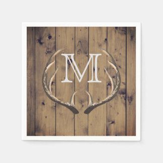 Rustic Country Wood Deer Antlers Monogram Disposable Serviettes
