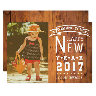 Rustic Country Wood | Happy New Year 2017 Photo Card