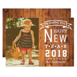 Rustic Country Wood | Happy New Year 2018 Photo Card