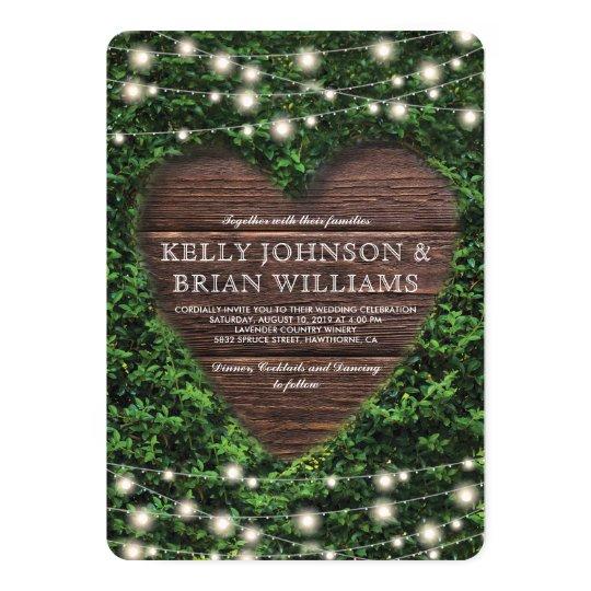 Rustic Country Wood Heart Twinkle Lights Wedding Card