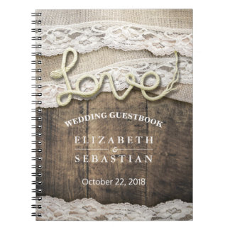 Rustic Country Wood Love Rope Wedding Guestbook Notebooks