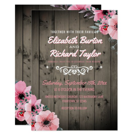 Rustic Country Wood Pink Floral Boho Wedding Card