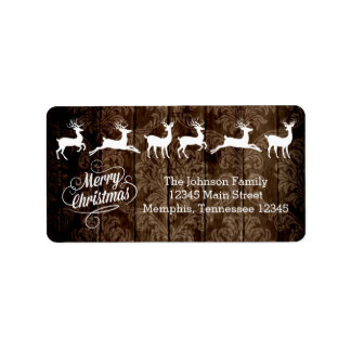 Rustic Country Wood Reindeer Merry Christmas Label Address Label
