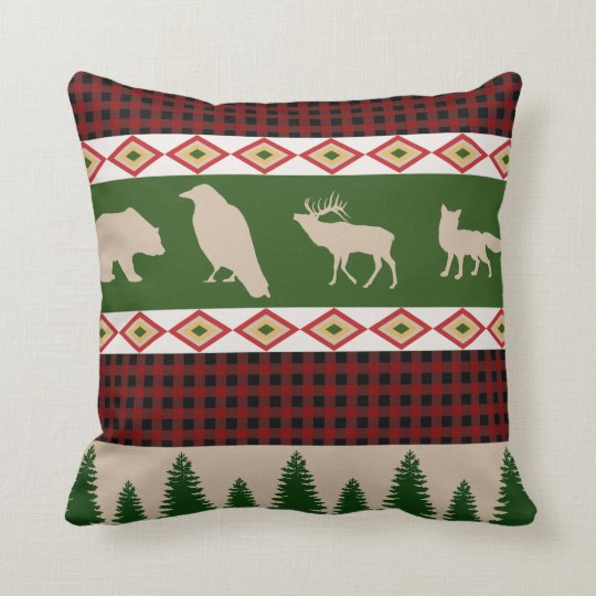 Rustic Country Woodland Christmas Holiday Cushion
