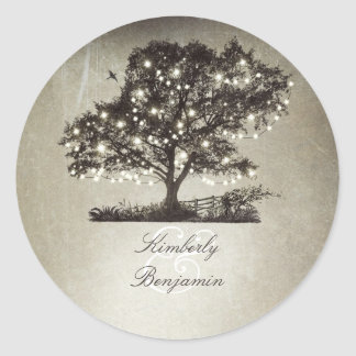 Rustic Countryside Tree and Lights Wedding Classic Round Sticker